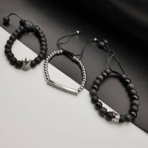 Silver and black set bracelets