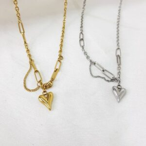 gold and silver hook necklaces